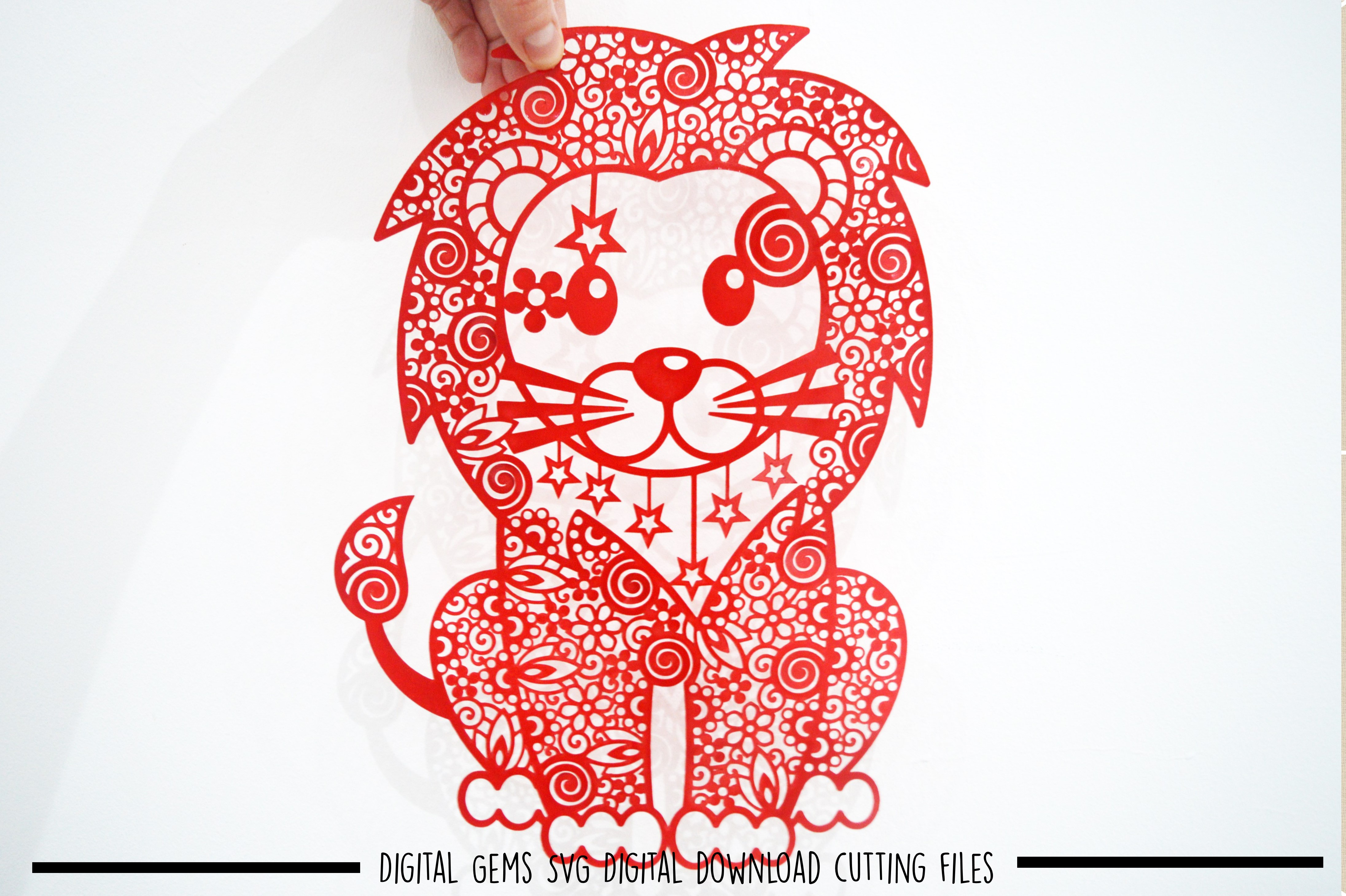 Lion paper cut SVG / DXF / EPS files example image 1