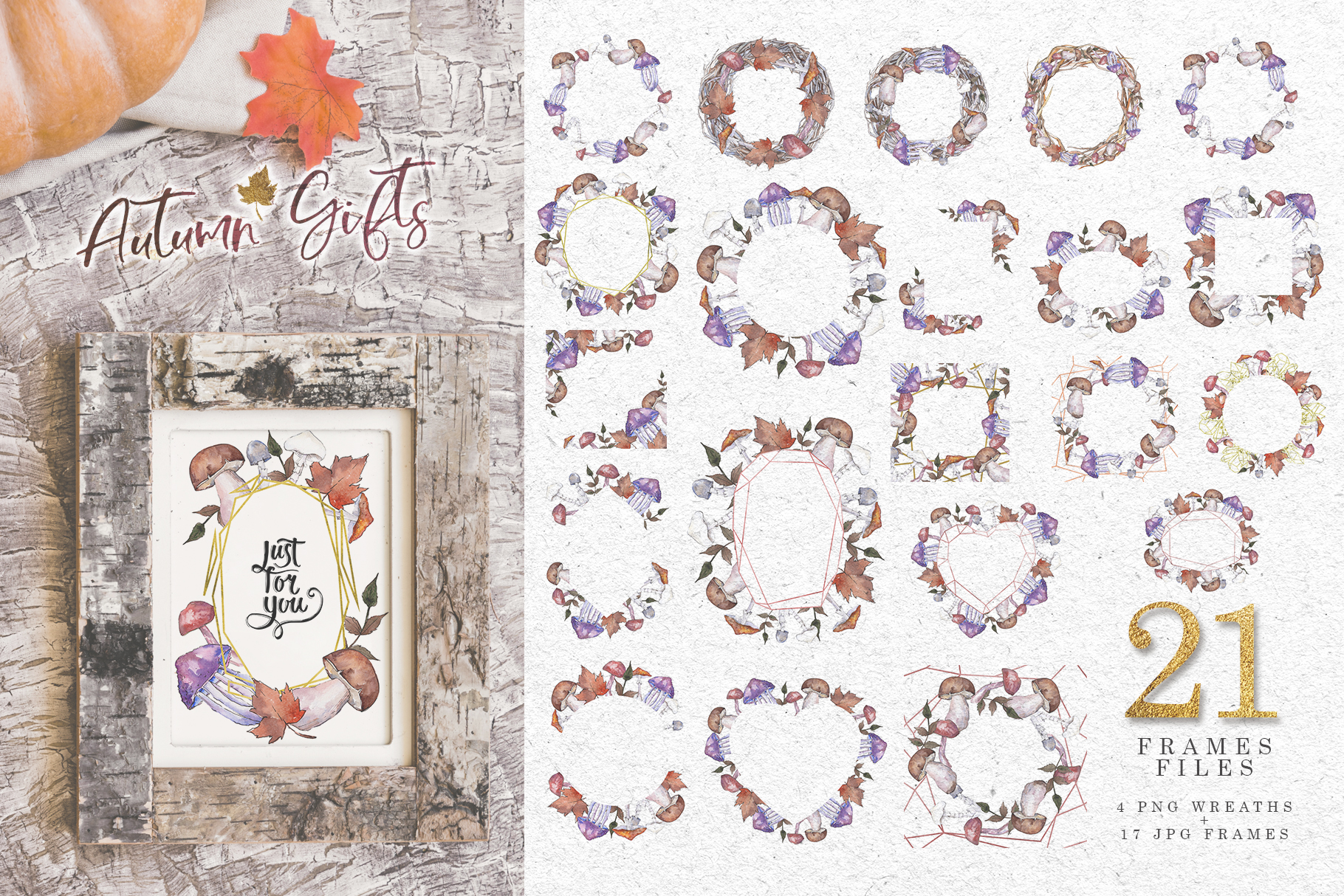 Gifts of autumn PNG watercolor set example image 6