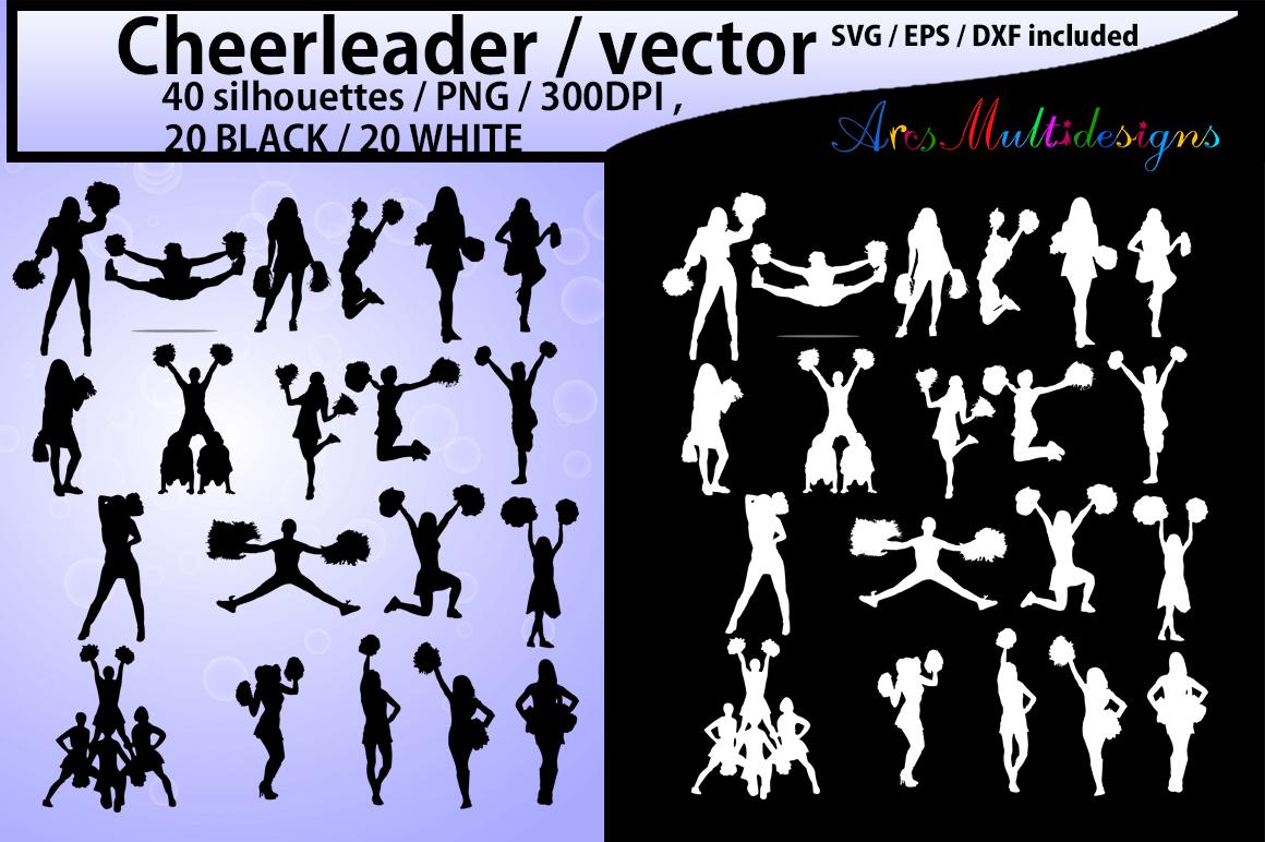 Cheerleaders SVG cut files / Cheerleader silhouette / Cheerleader clipart / instant download / vector Cheerleader/ EPS / SVG /Png / DXf example image 1