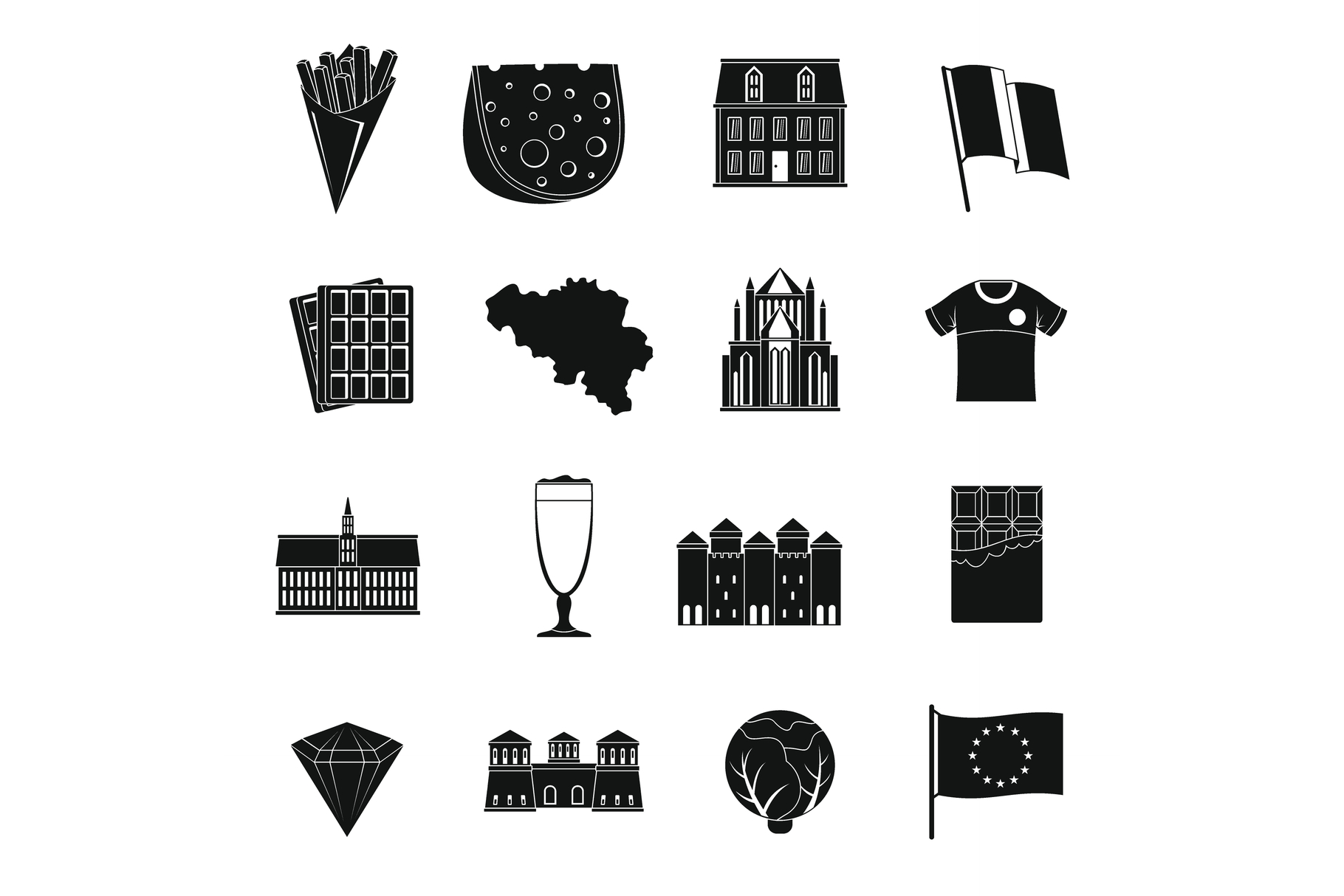 Belgium travel icons set, simple style example image 1