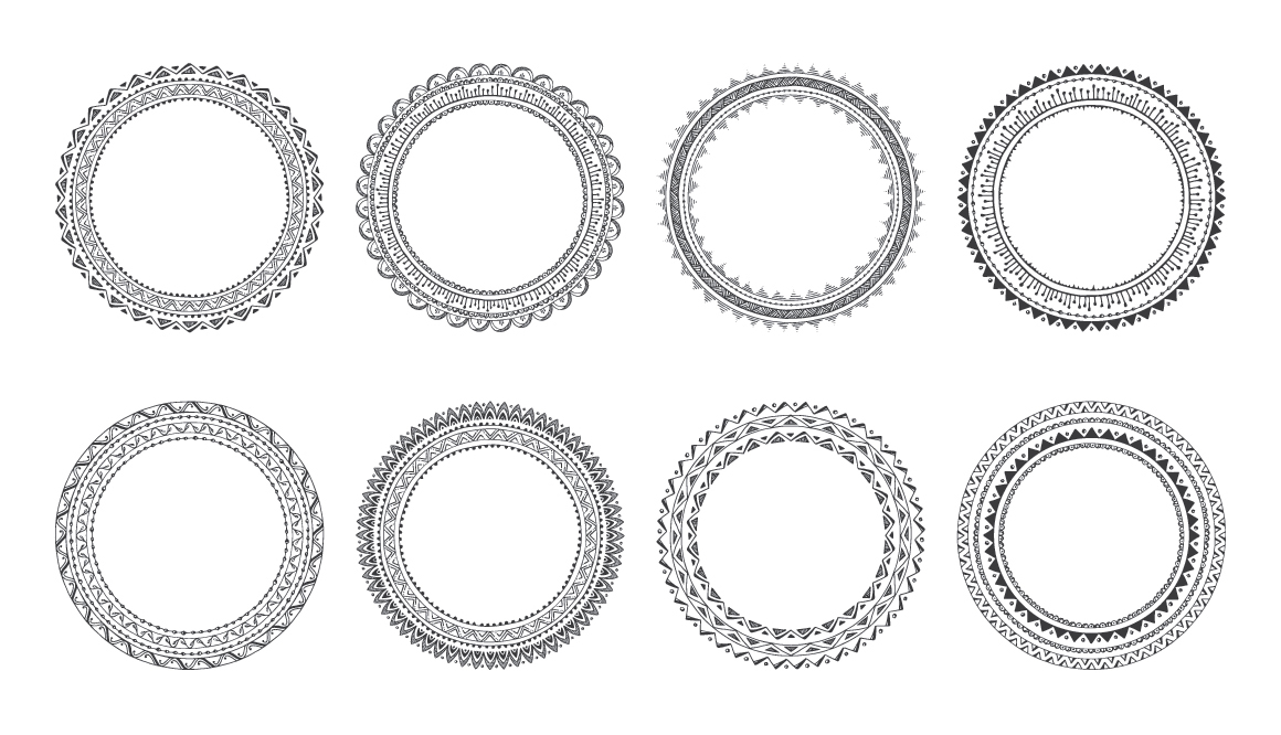 10 Hand Drawn Decorative Round Frames example image 5