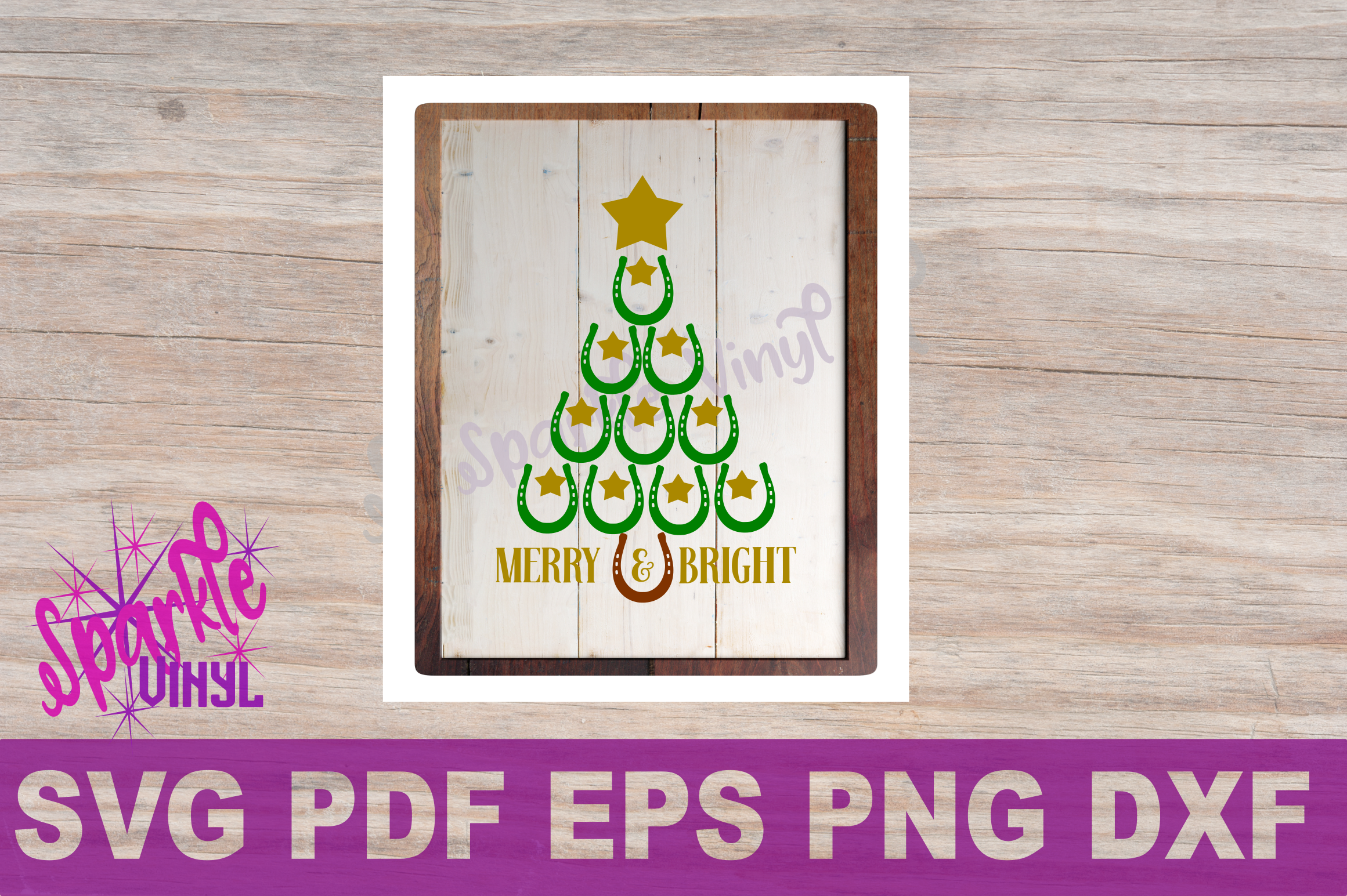 SVG Christmas Cowboy Cowgirl Christmas Horseshoe Tree Merry and Bright Stars Shirt Printable Svg files for cricut silhouette dxf png pdf eps example image 4