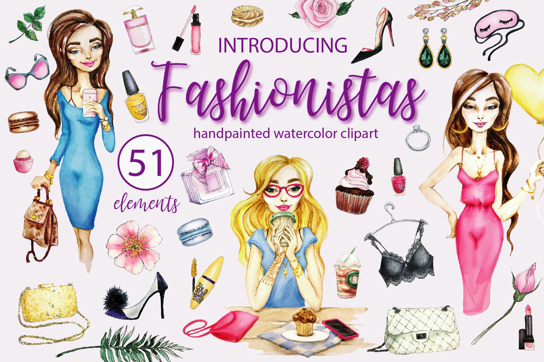 Fashionistas. IT-girs watercolor illustrations example image 1