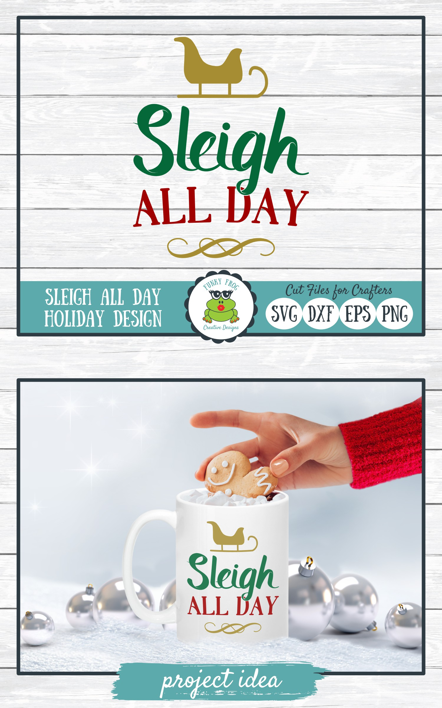 Sleigh All Day, Christmas Holiday SVG Cut File for Crafters example image 4