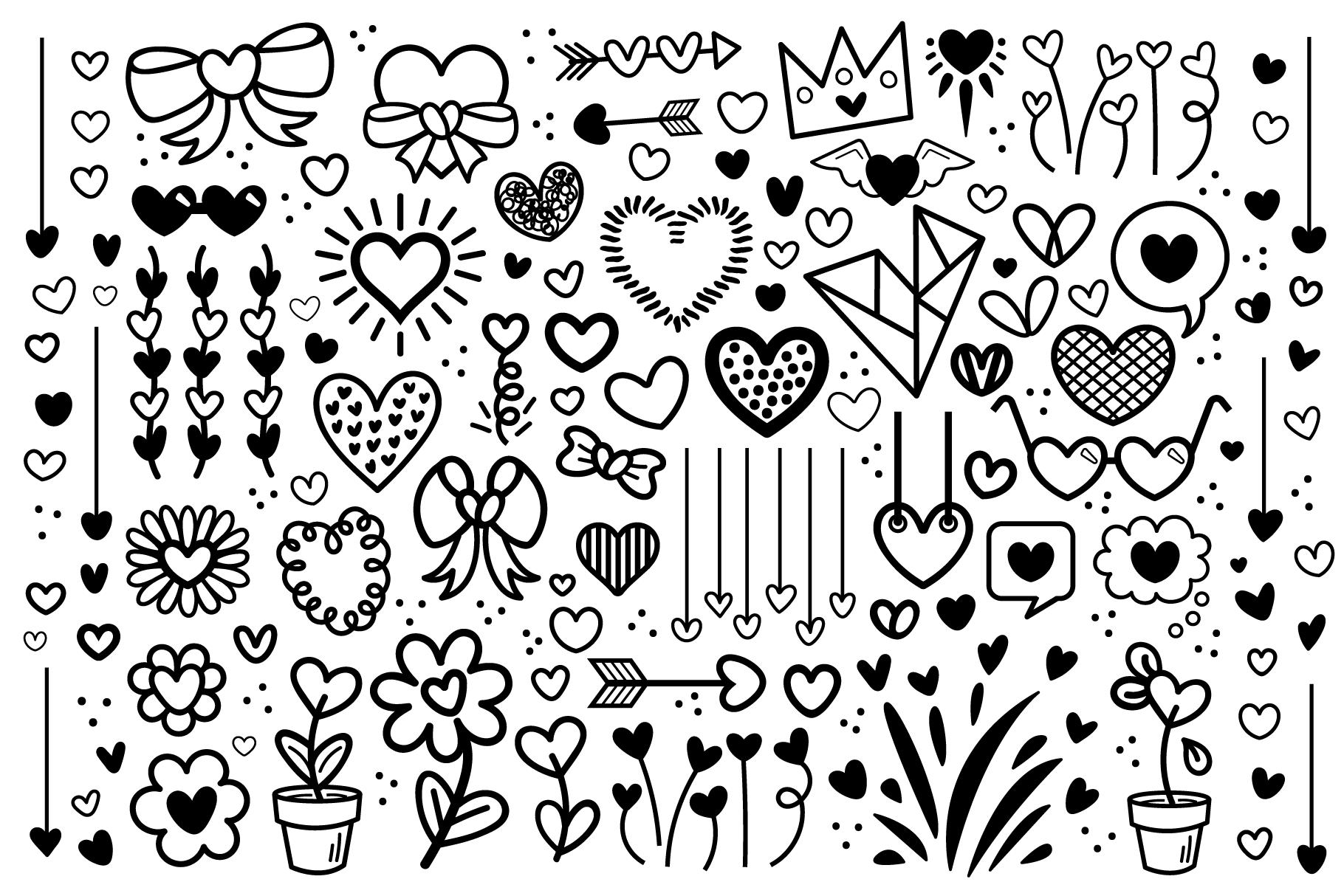 Cartoon Doodle Heart Clip Art Set example image 1