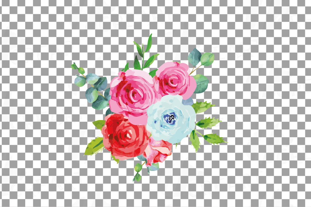 Boho pink and blue watercolor wedding bouquets, floral png example image 17