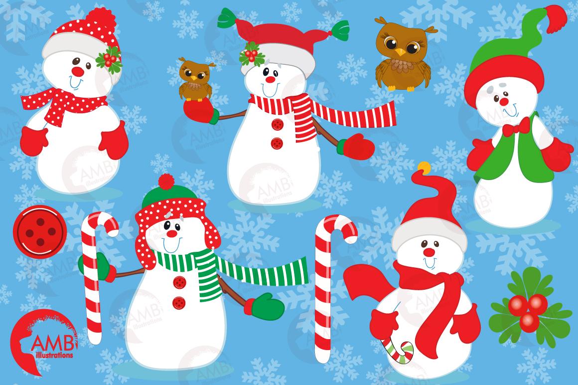 Happy Snowmen clipart, graphics, illustrations AMB-503 example image 5