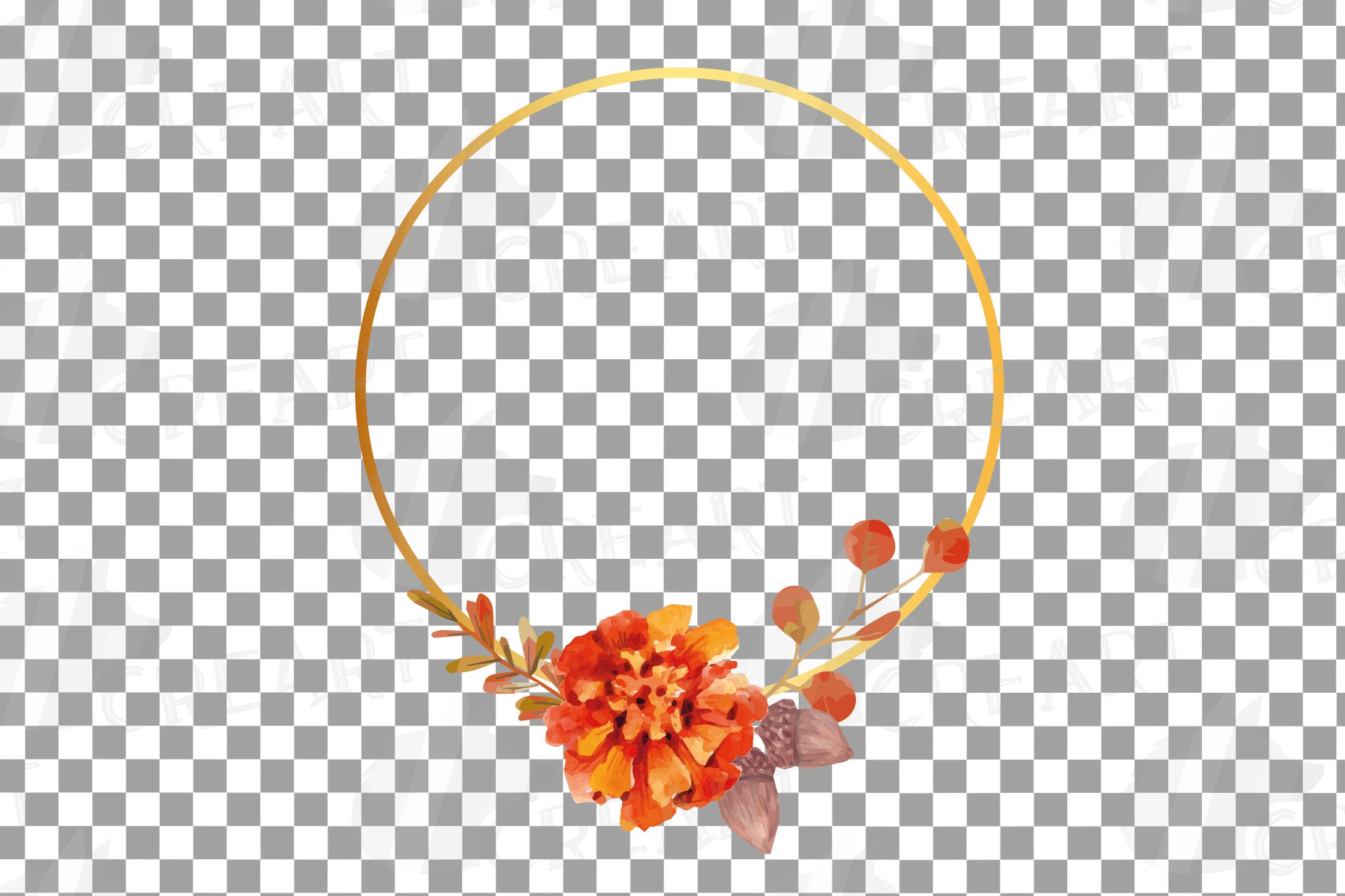 Watercolor elegant autumn geometric golden frame templates. example image 12