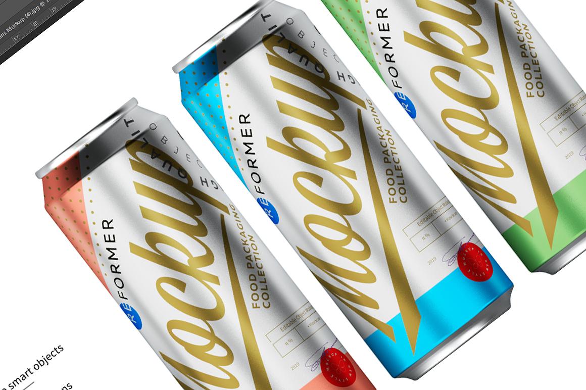 Three Brushed Aluminum Cans Mockup 330ml example image 2