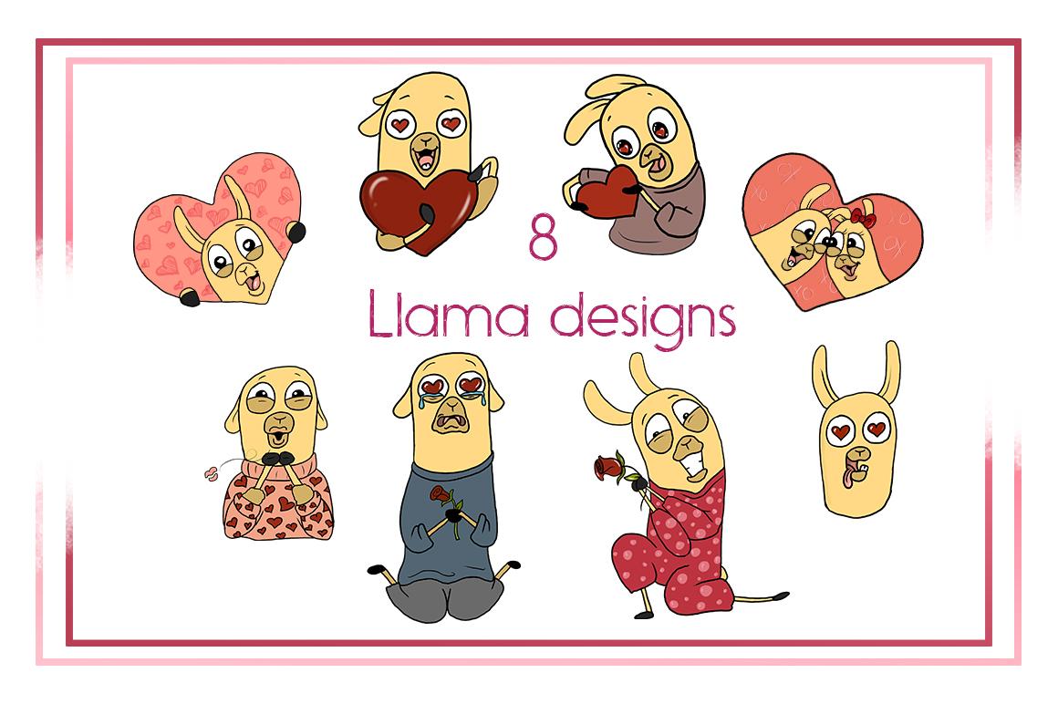 Valentines-Animal Clipart-llama Clipart-Valentines Clipart-Cartoon-Sticker Clipart-Digital-Llama-Heart-Love-Funny-Llama Drama-Commercial example image 2