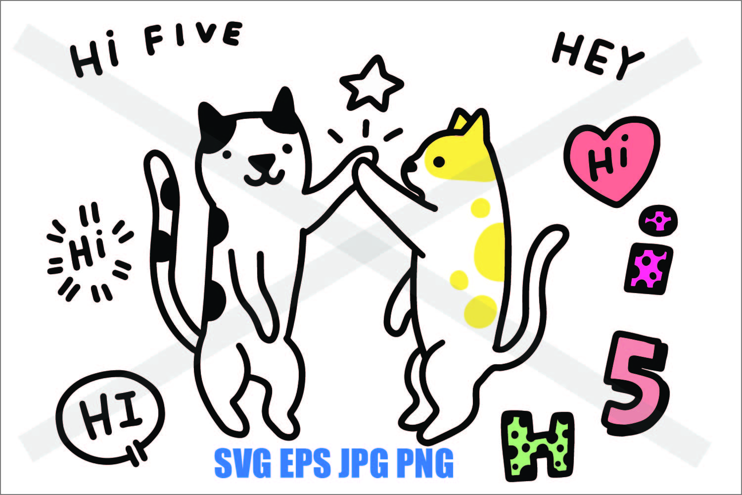 Two Cat High Five - SVG EPS JPG PNG example image 1