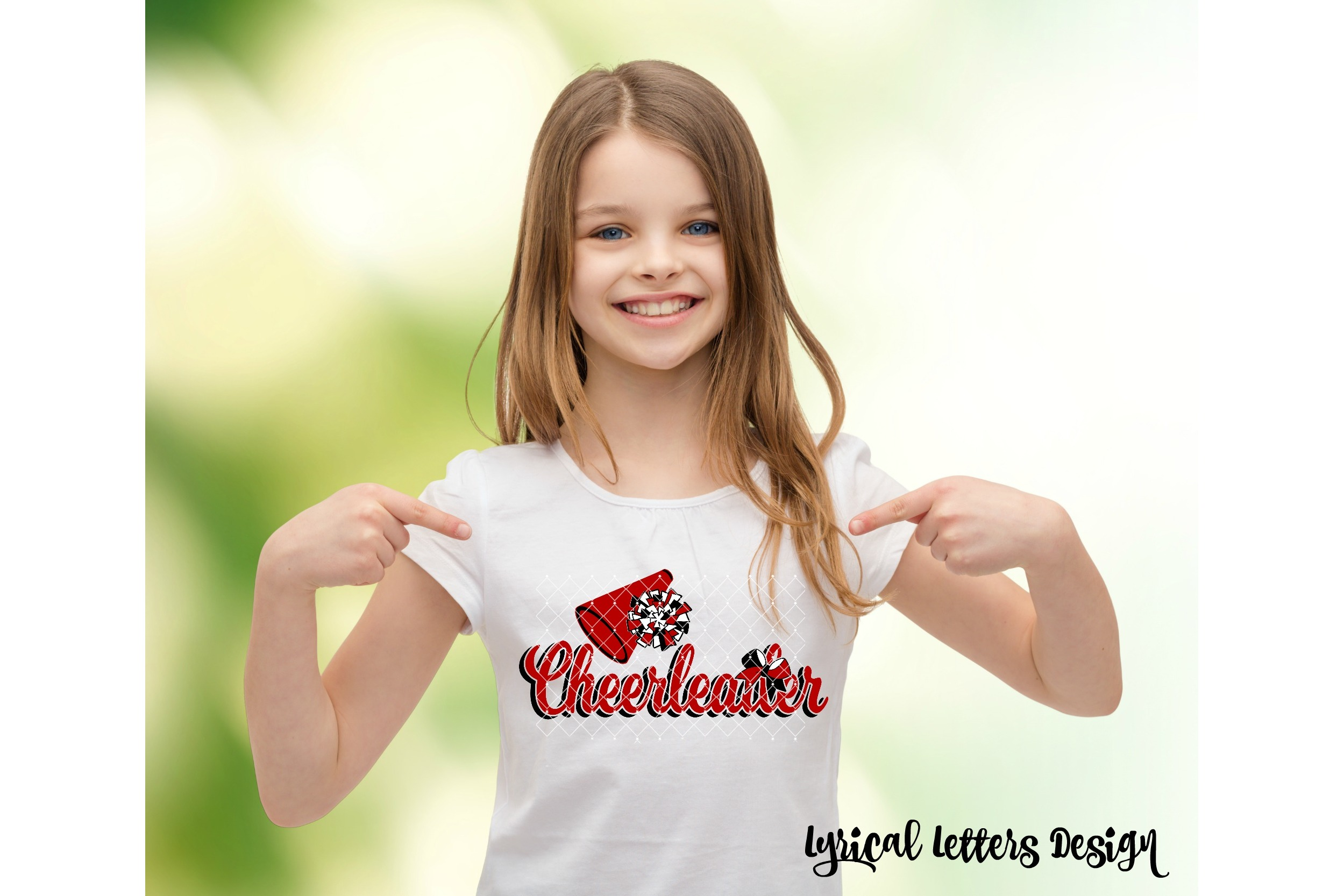 Cheerleader with Pom Pom SVG DXF Cut File LL164B example image 2