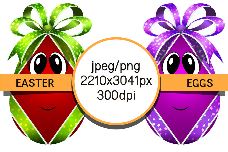 Easter eggs with bows. Egg characters for Easter in png, jpg example image 3