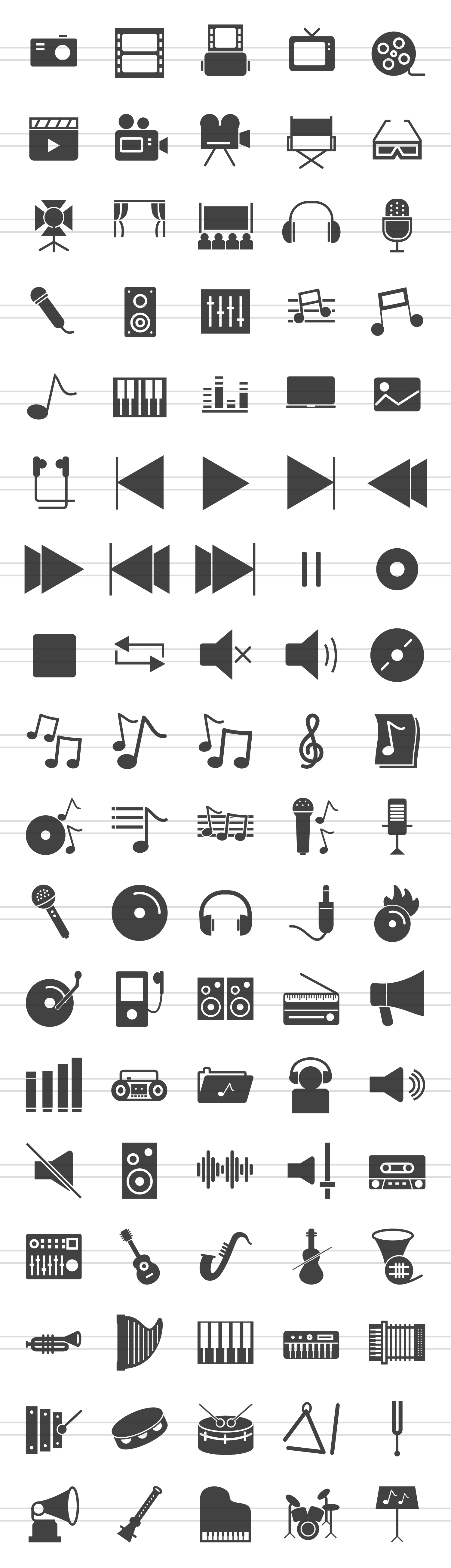 90 Music & Multimedia Glyph Icons example image 2