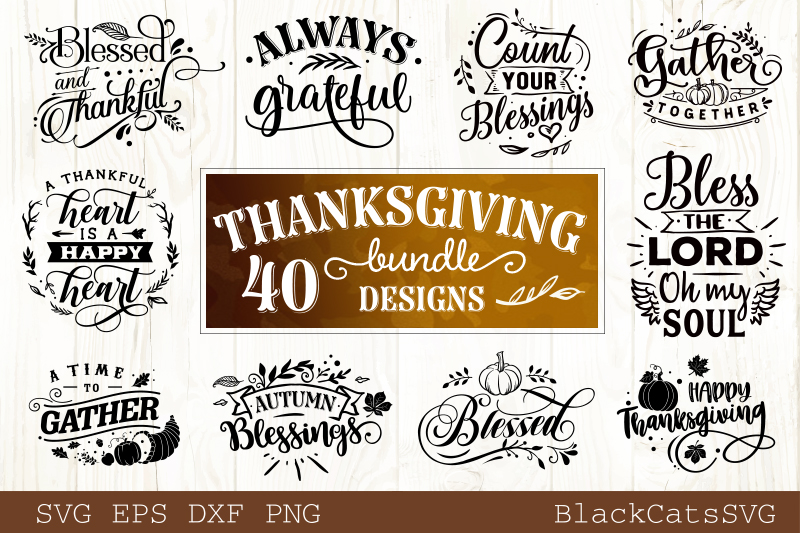 Thanksgiving SVG bundle 40 designs Fall and pumpkins SVG bun example image 1