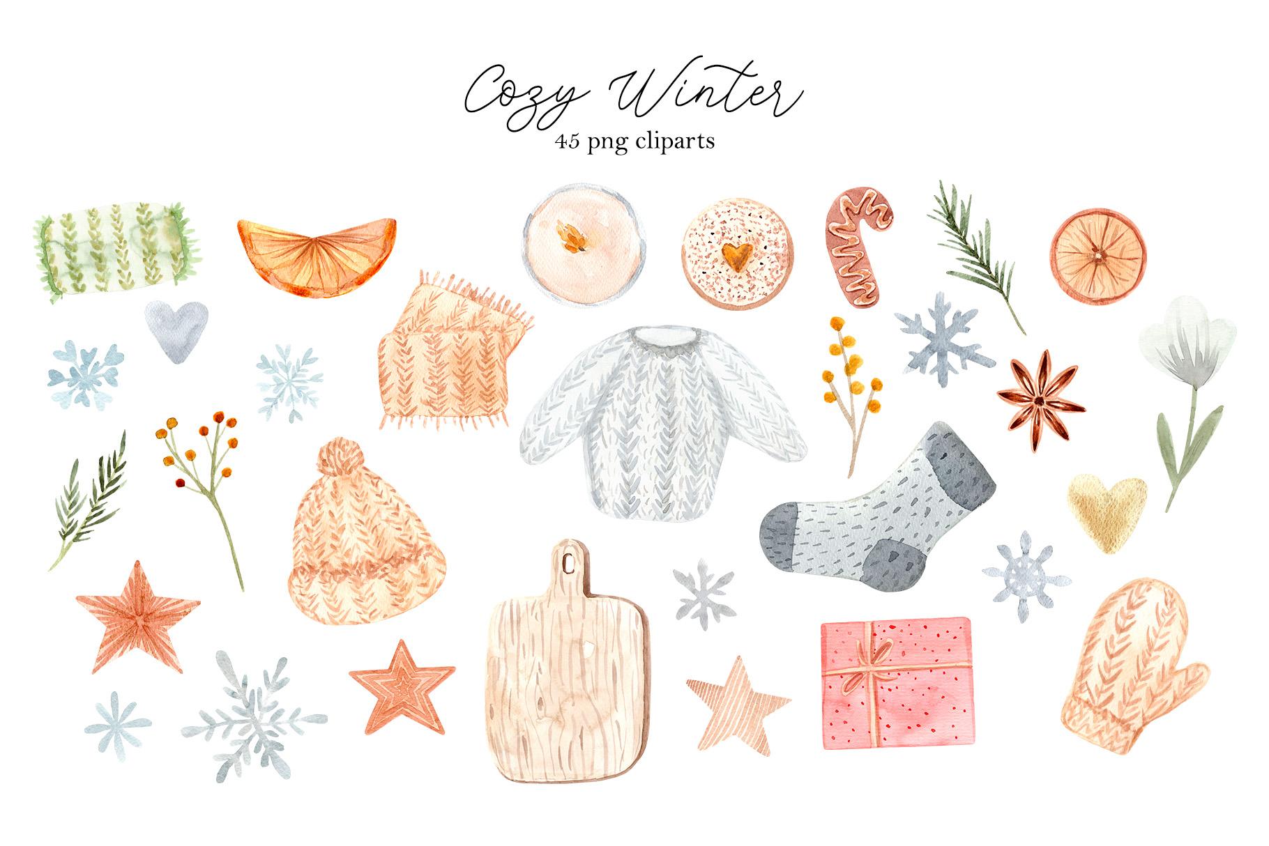 Watercolor Cozy Winter Collection example image 2