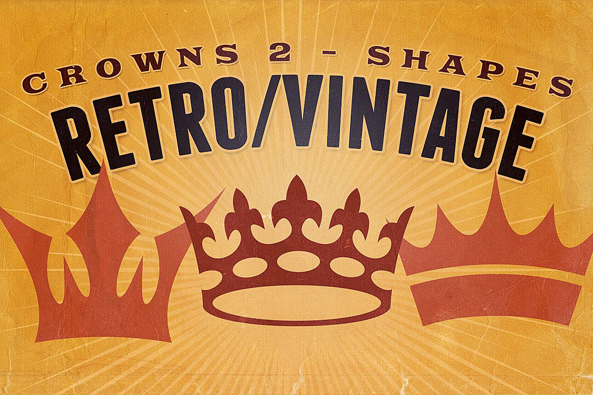 Retro/Vintage shapes - Crowns 2 example image 1