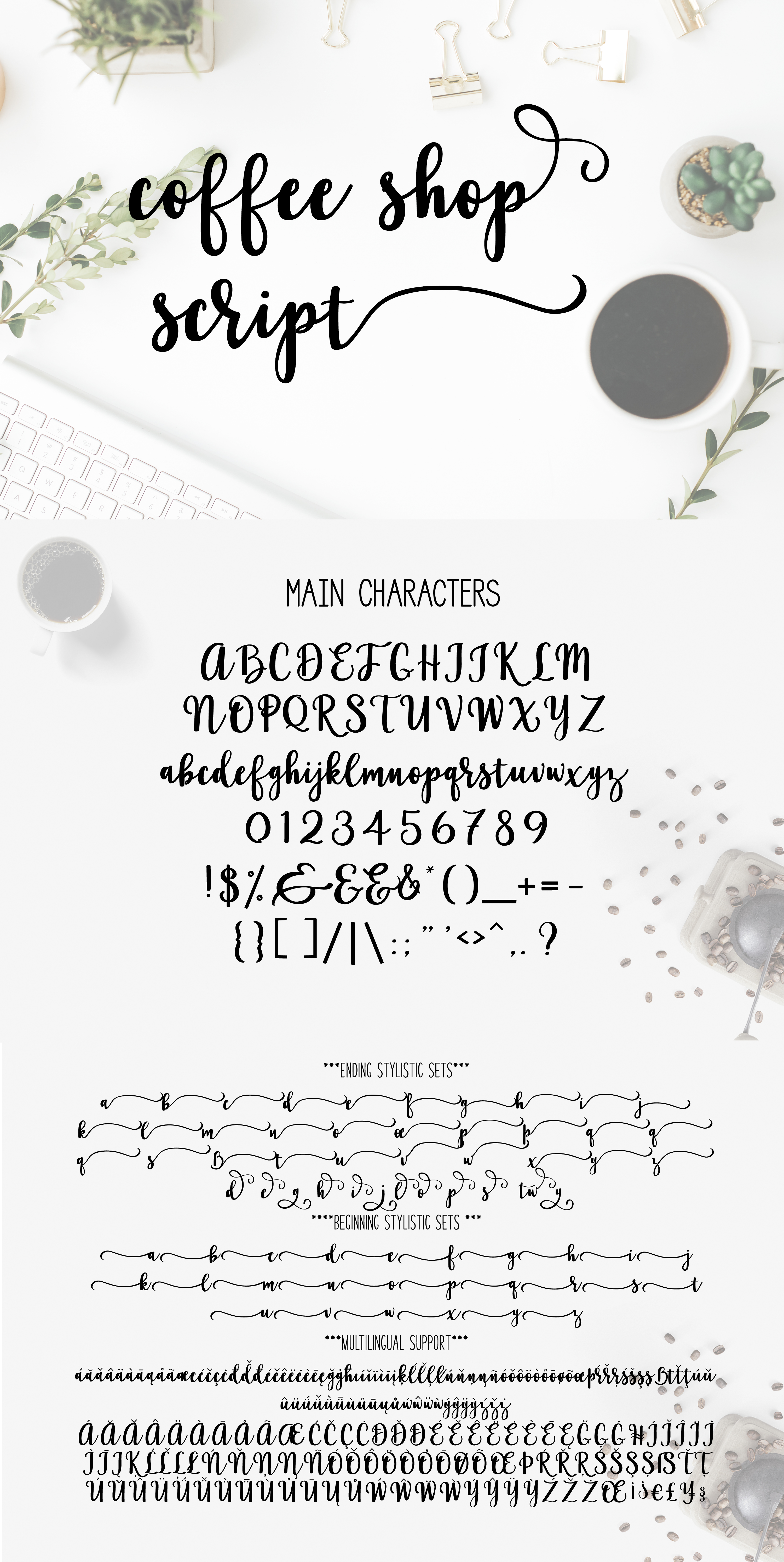 Coffee Shop Script a cursive brush font with lots of extras example image 2