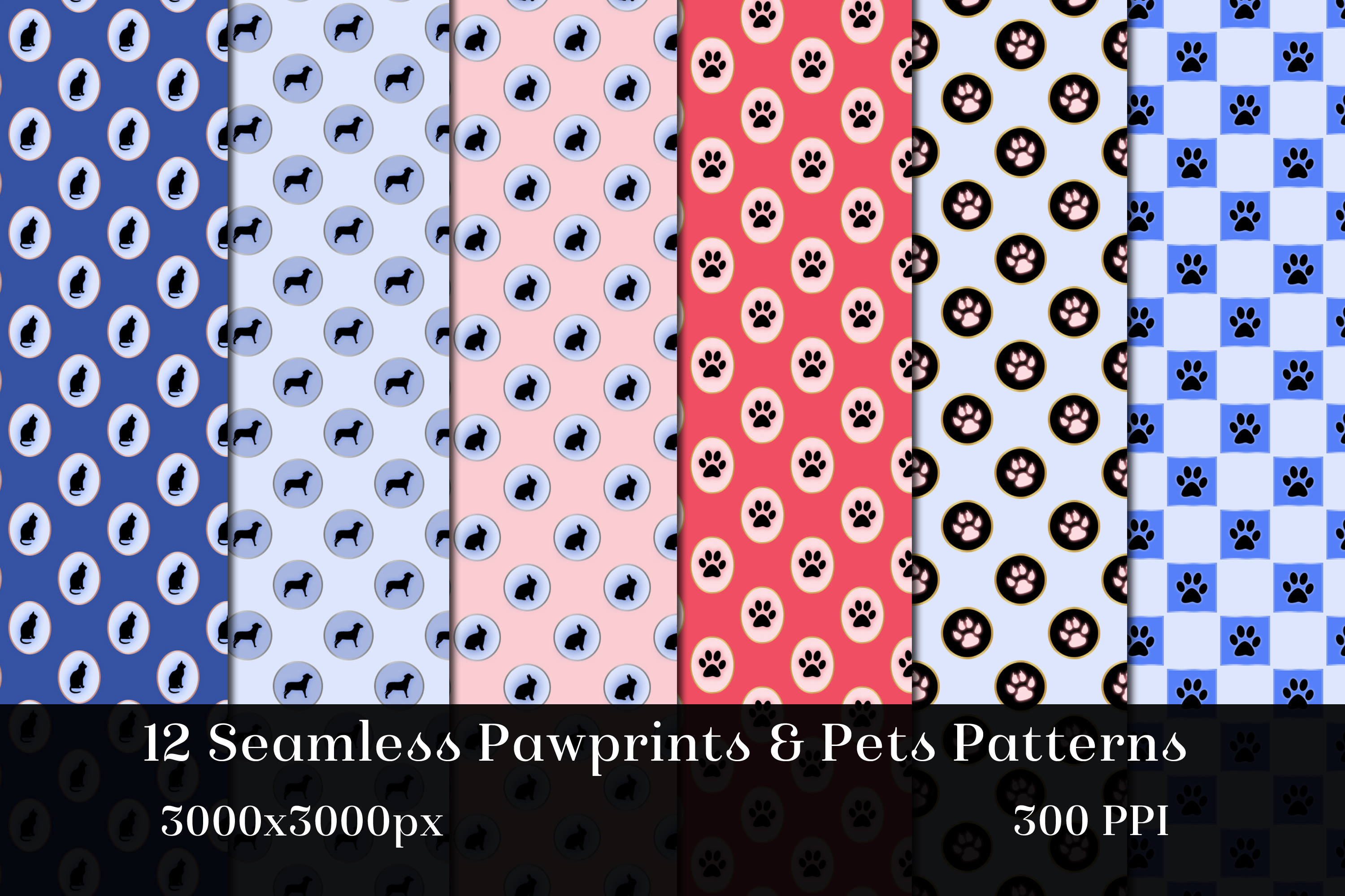 Seamless Pawprints & Pets Patterns - 12 Images example image 2