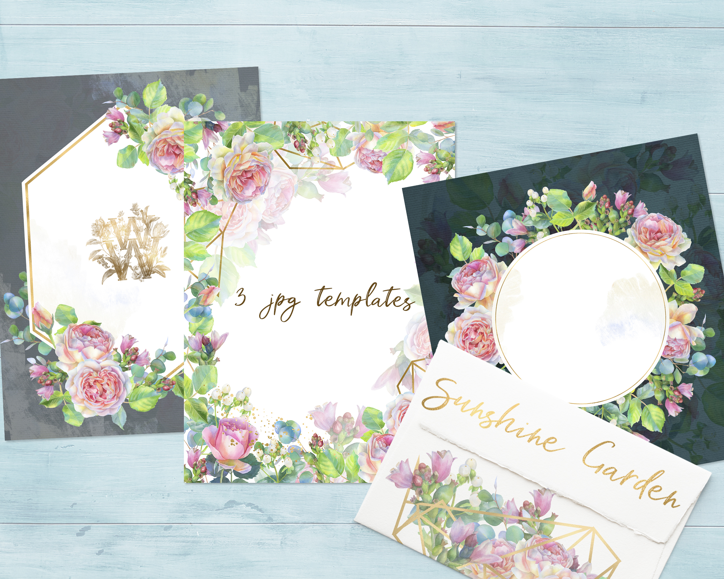 Pink rose watercolor wedding clip art, floral frame clipart example image 5