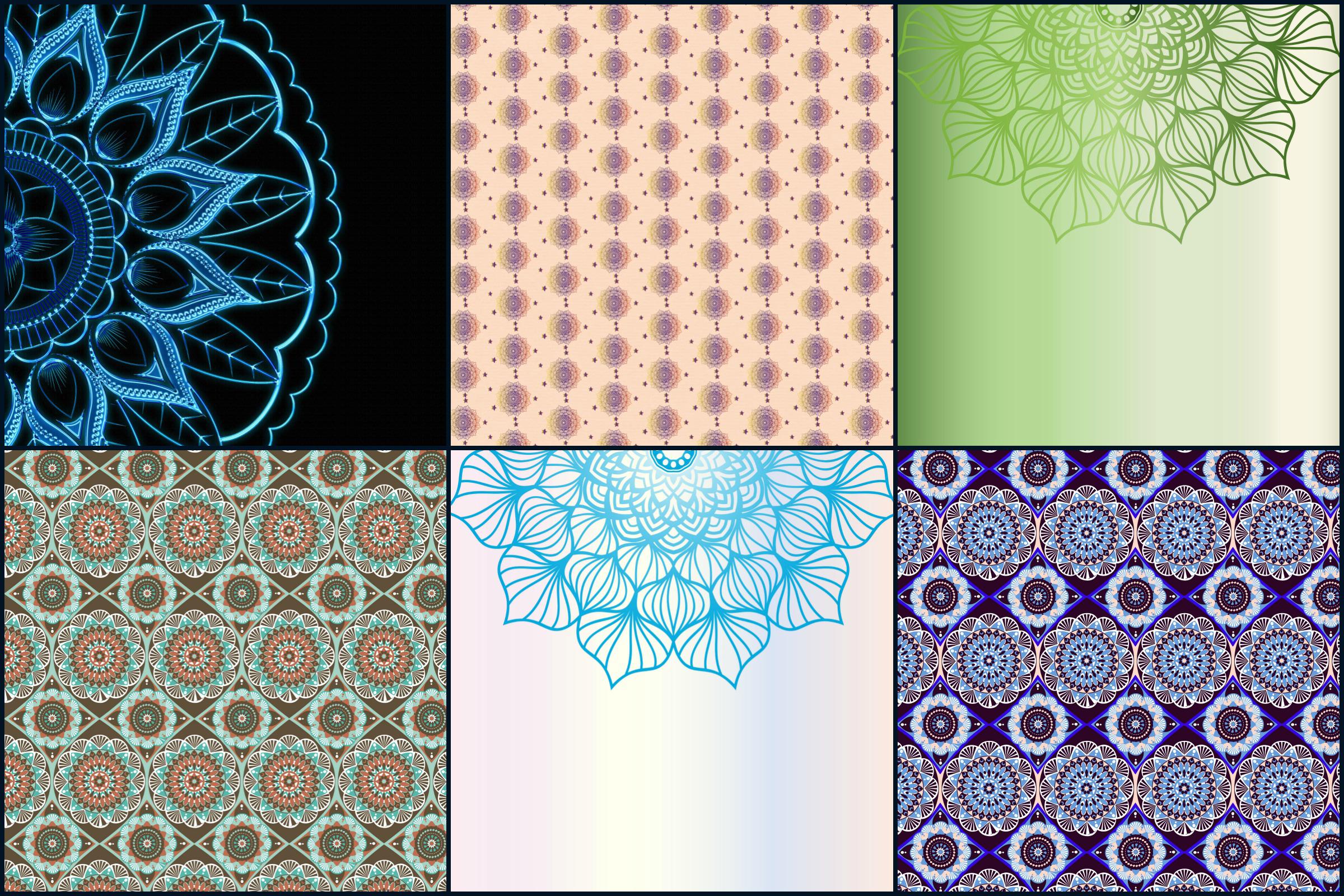 Mandala Digital Papers example image 3