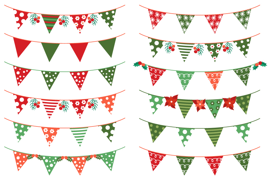 Red and green Christmas buntings clipart set example image 1