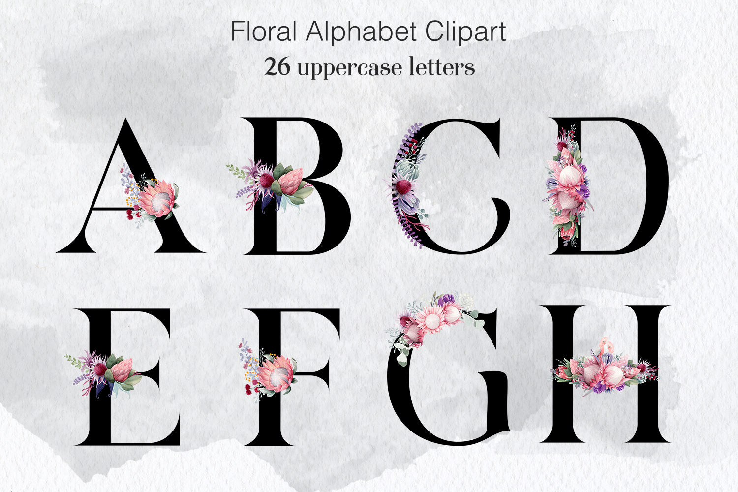 Floral Alphabet Clipart, Wedding Flower Alphabet example image 1