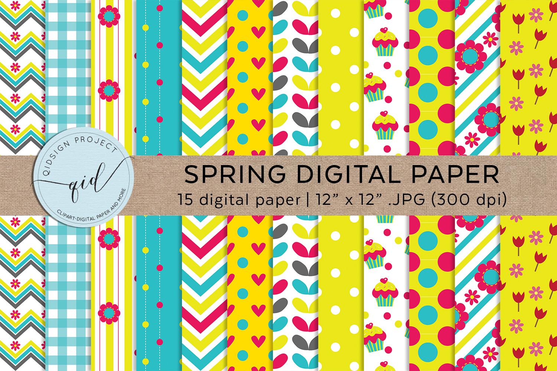 Spring Digital Pattern Paper JPG example image 1