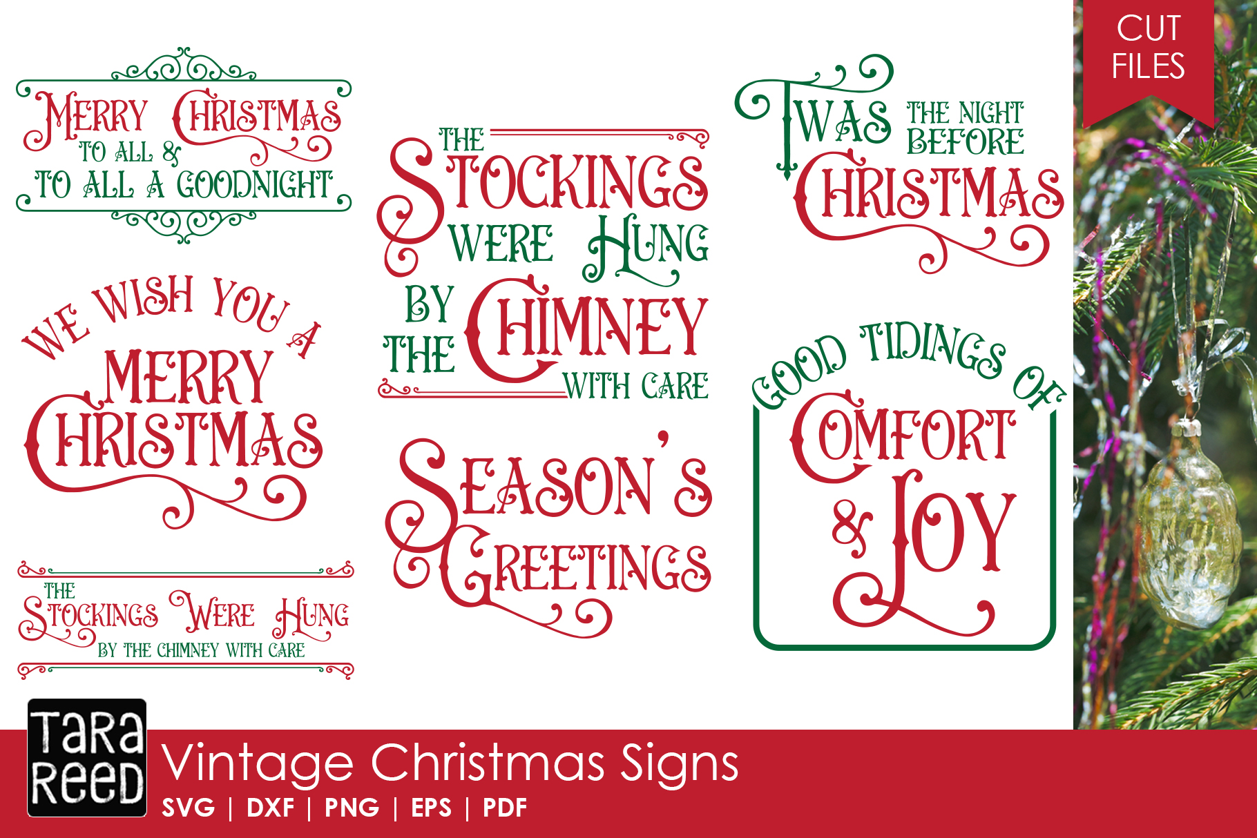 Vintage Christmas Signs Svg Cut Files For Crafters