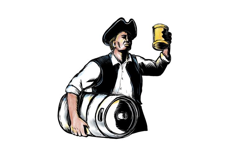 American Patriot Carry Beer Keg Scratchboard example image 1