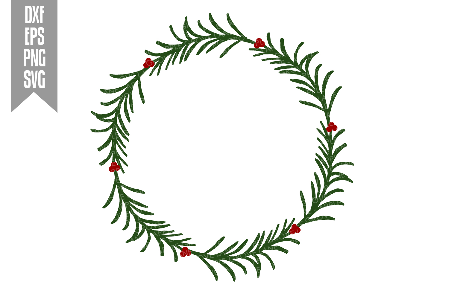 Christmas Wreath Svg Cut File - Svg Dxf Eps Png example image 2