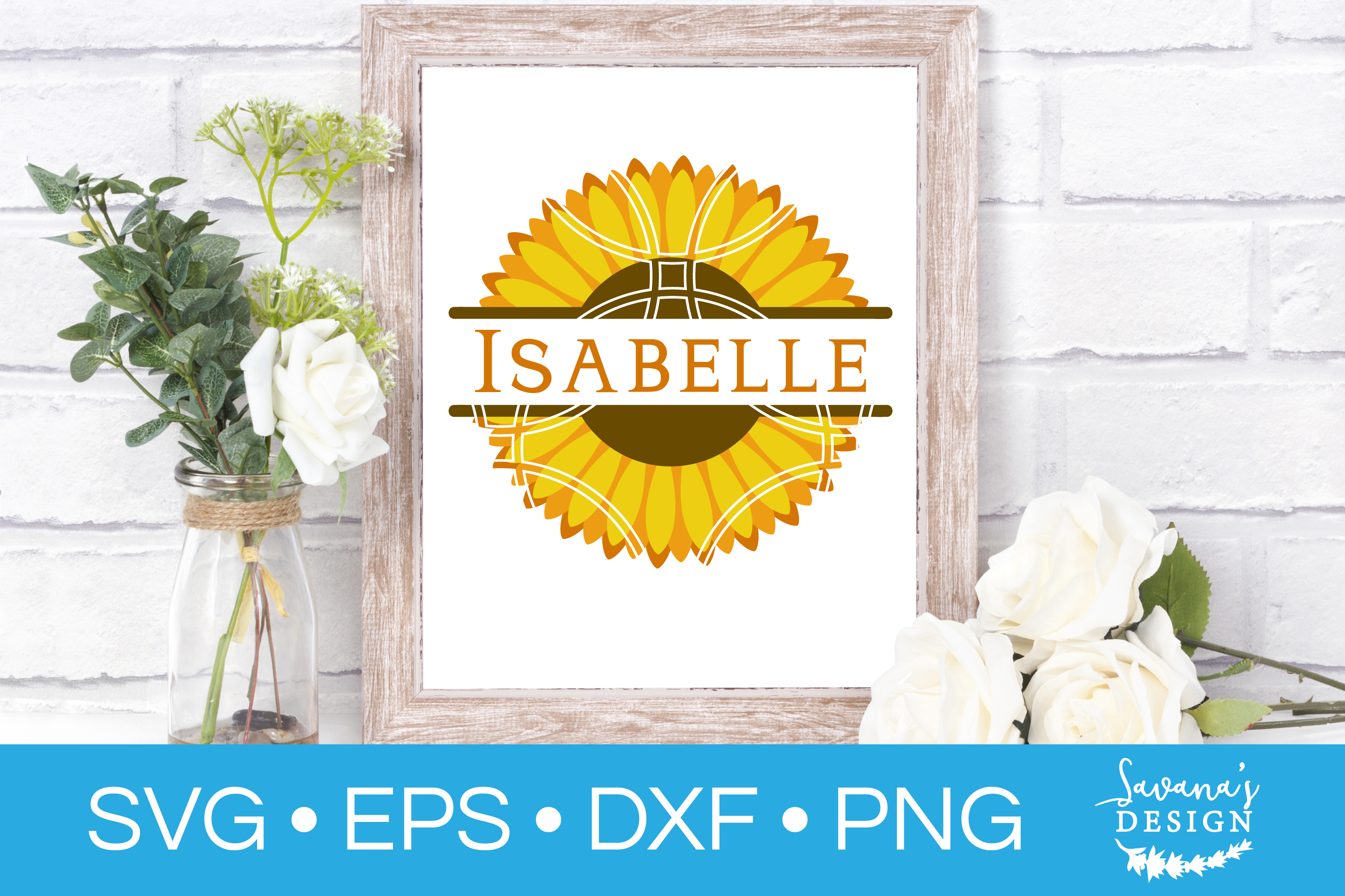 Sunflower Monogram Bundle SVG Cut Files for Summer & Spring example image 2