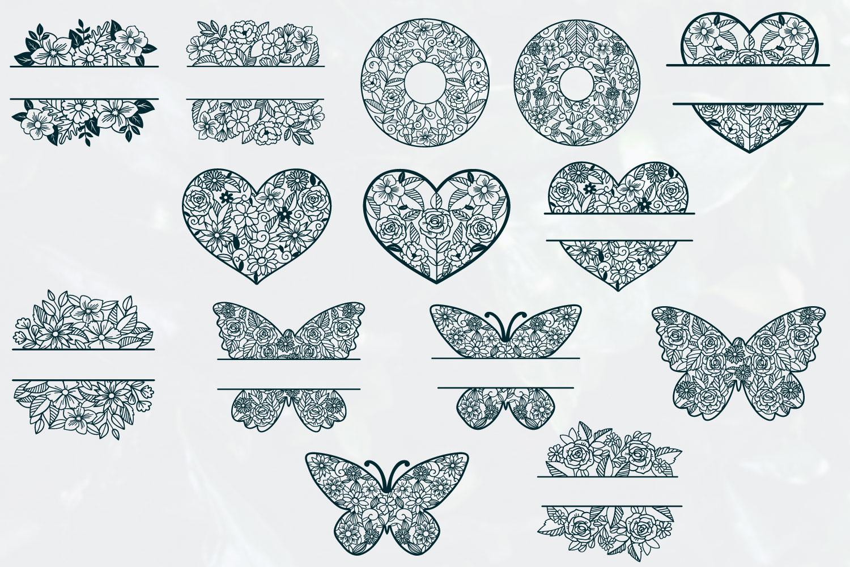 Love Floral Papercut Bundle- 14 SVG cut files example image 3