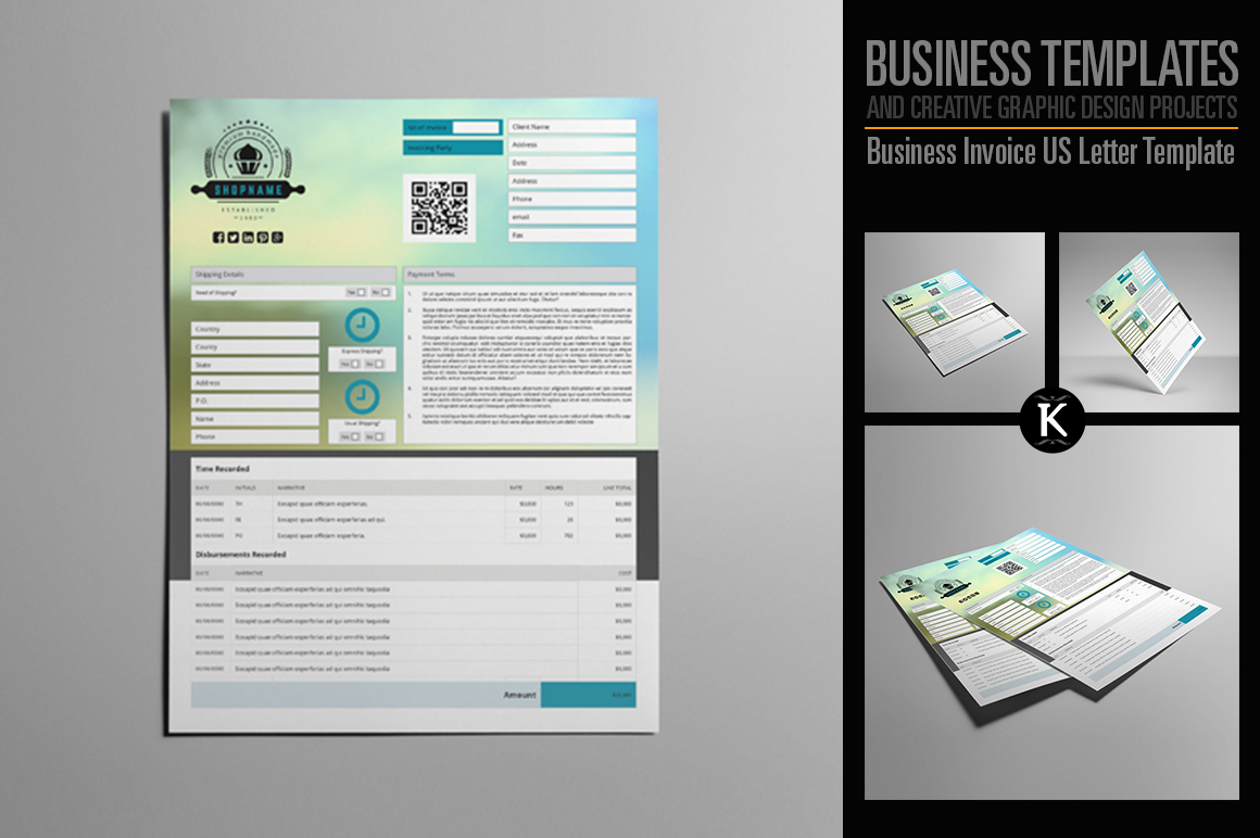 Business Invoice US Letter Template example image 1