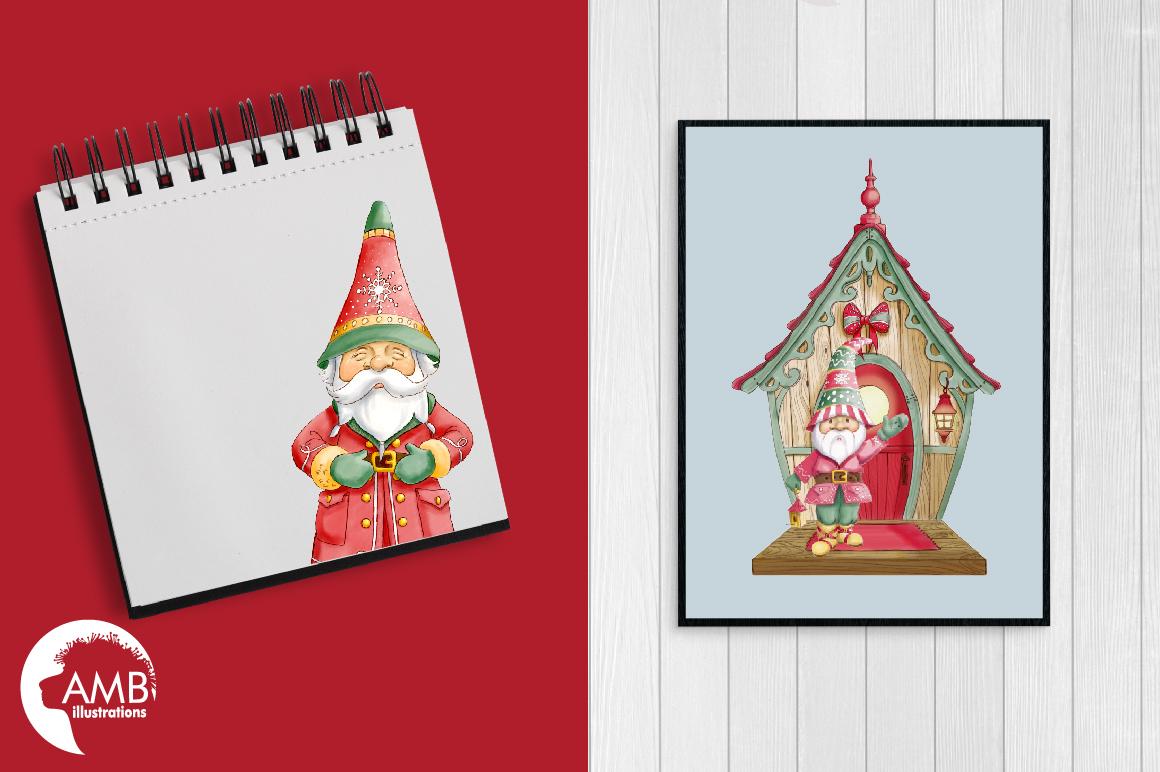 Christmas gnomes clipart watercolor AMB-1543 example image 2