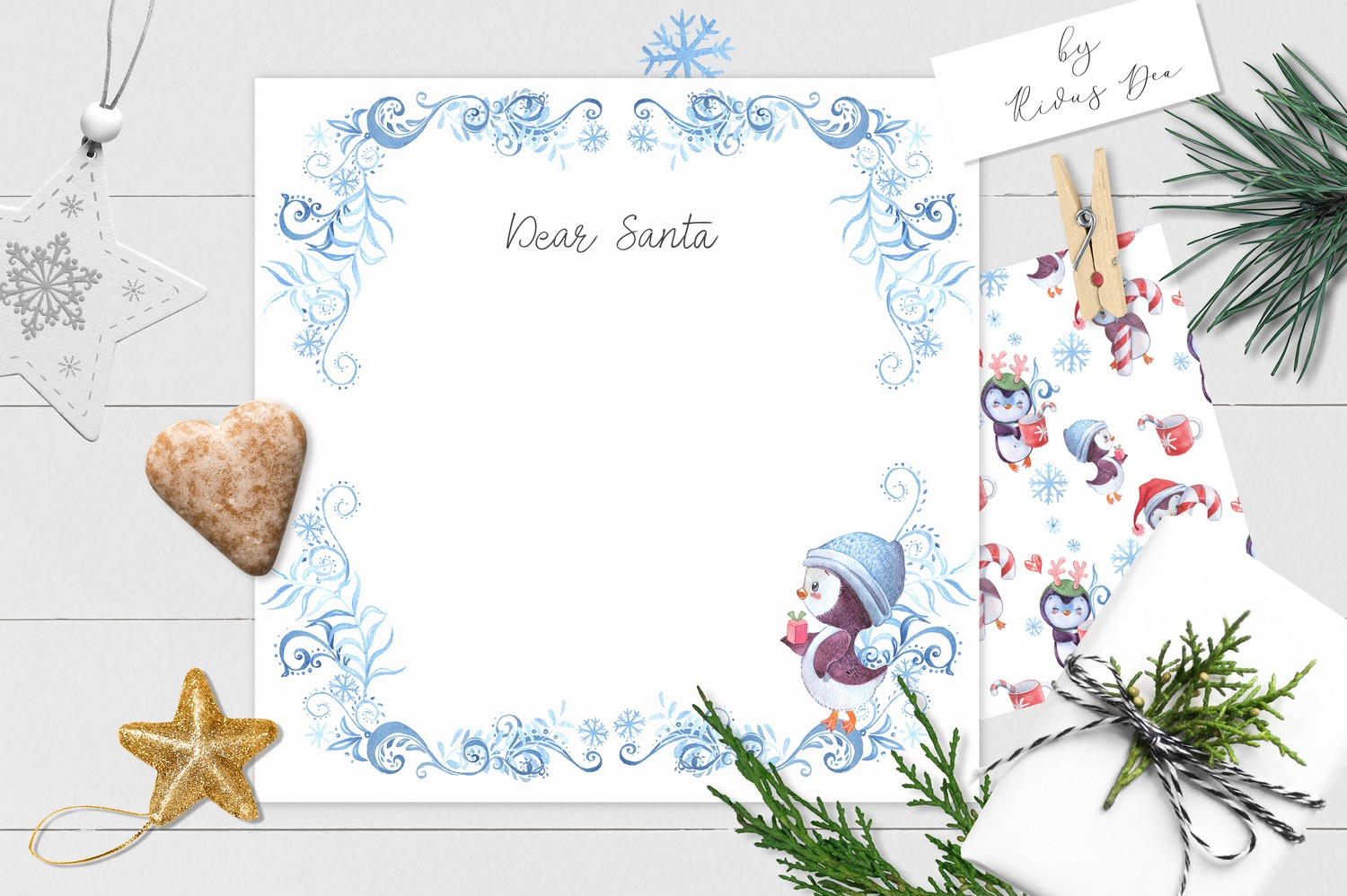Christmas Penguins Pack CLIPARTS, DIGITAL PAPERS, BORDERS example image 10