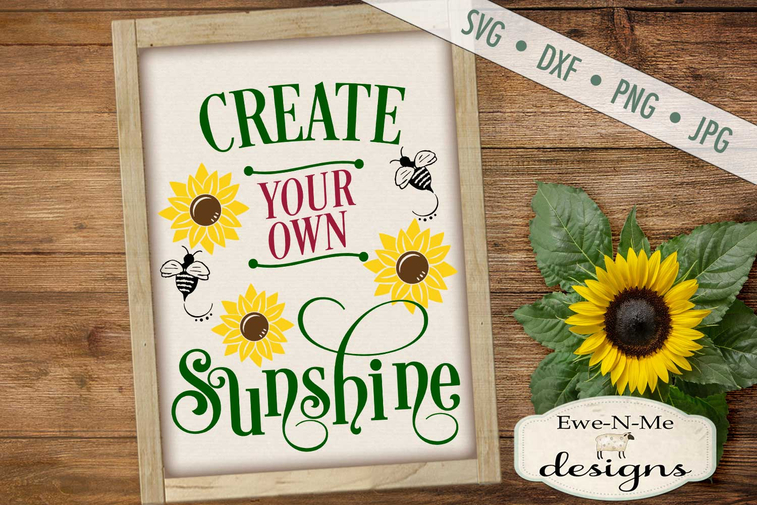 Create Your Own Sunshine Sunflower SVG DXF File example image 1