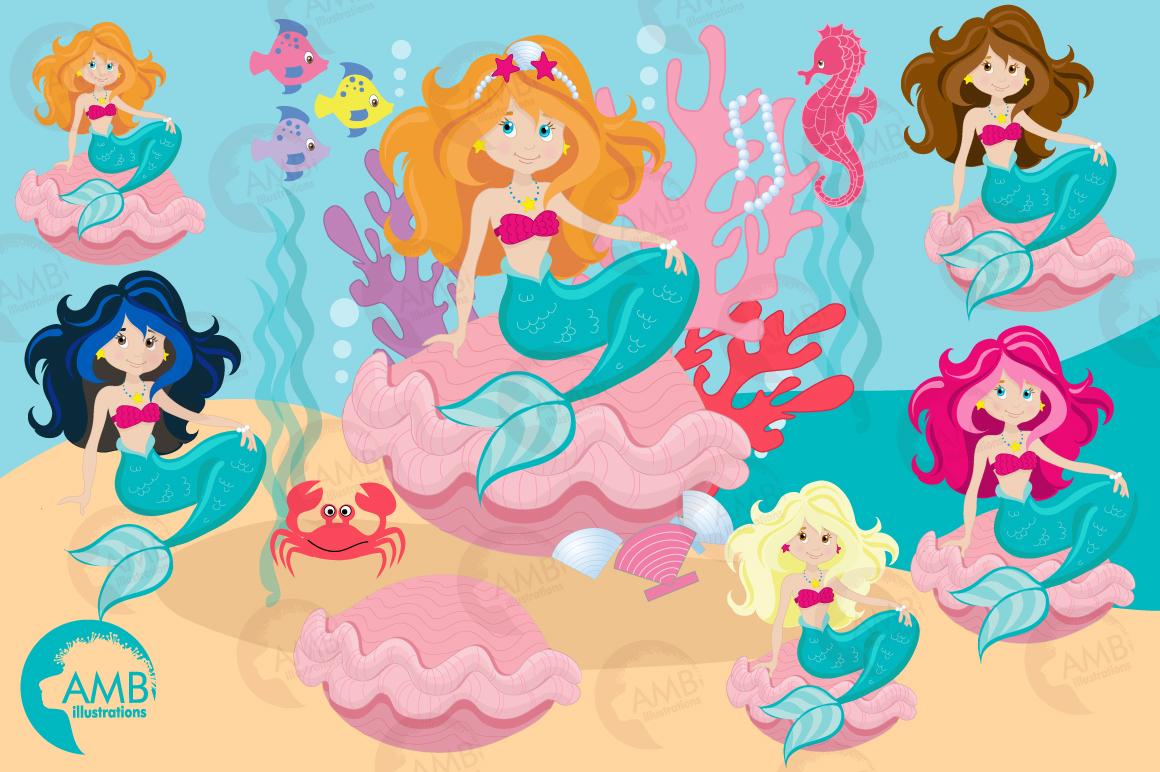 Mermaid Princess clipart, graphics, illustrations AMB-818 example image 6
