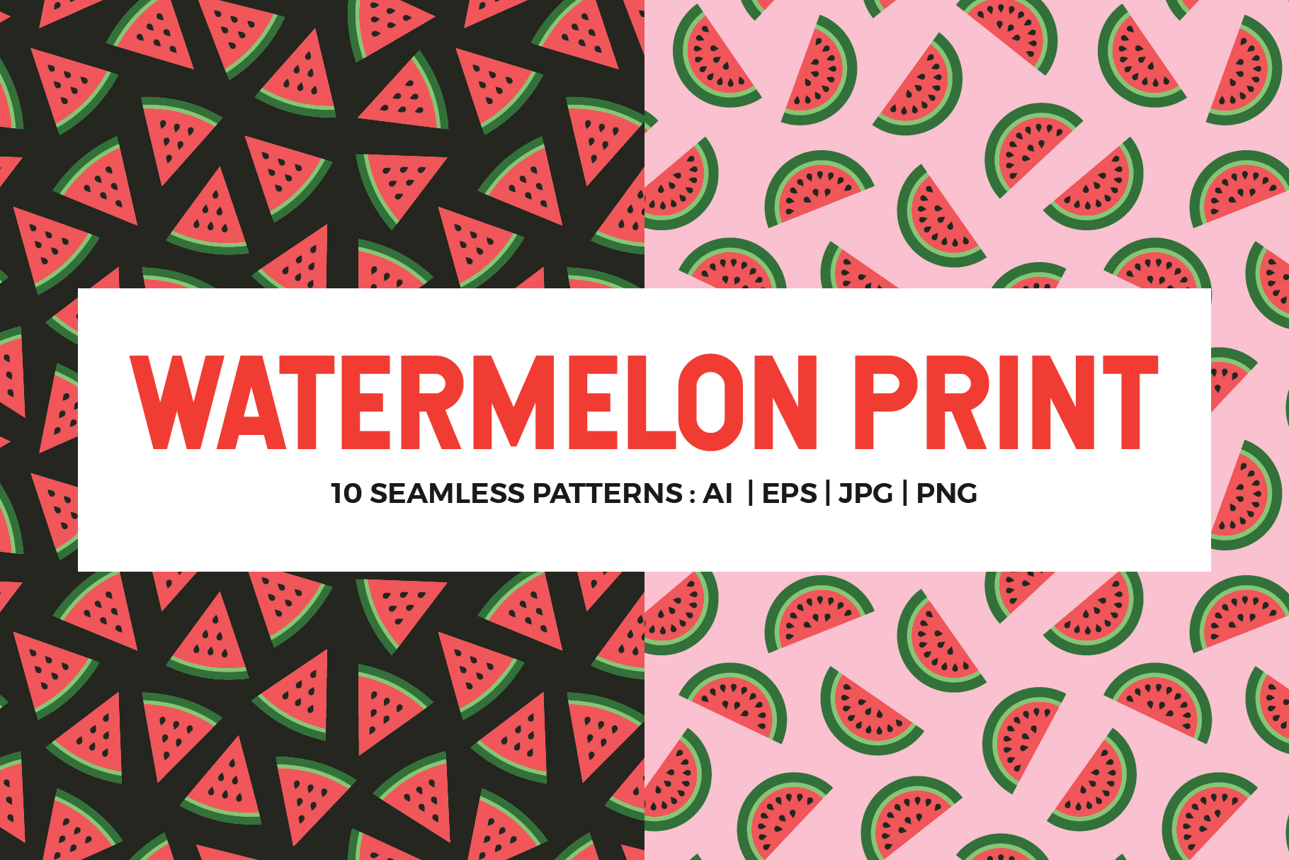 Watermelon Seamless Patterns example image 1