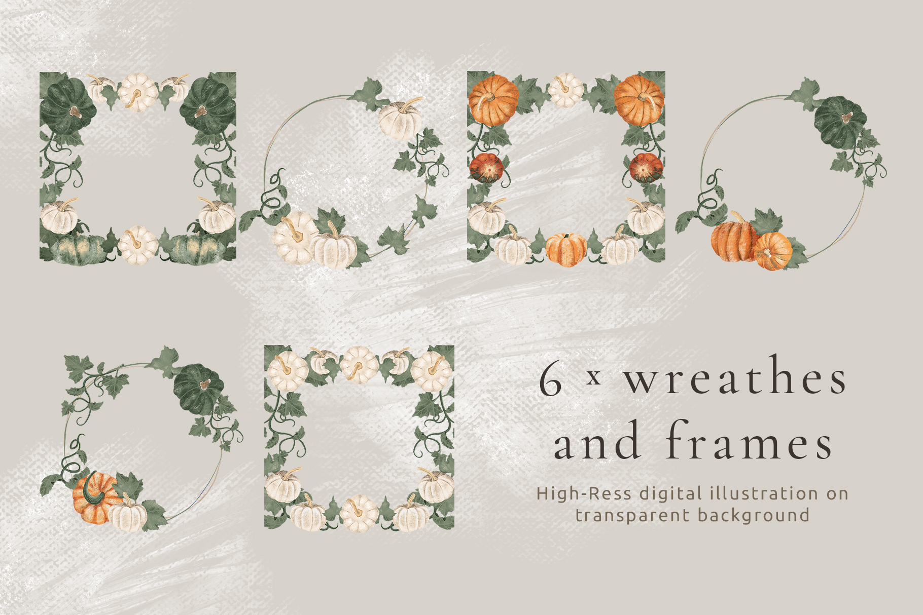 Hand drawn pumpkin frames and wreaths example image 2