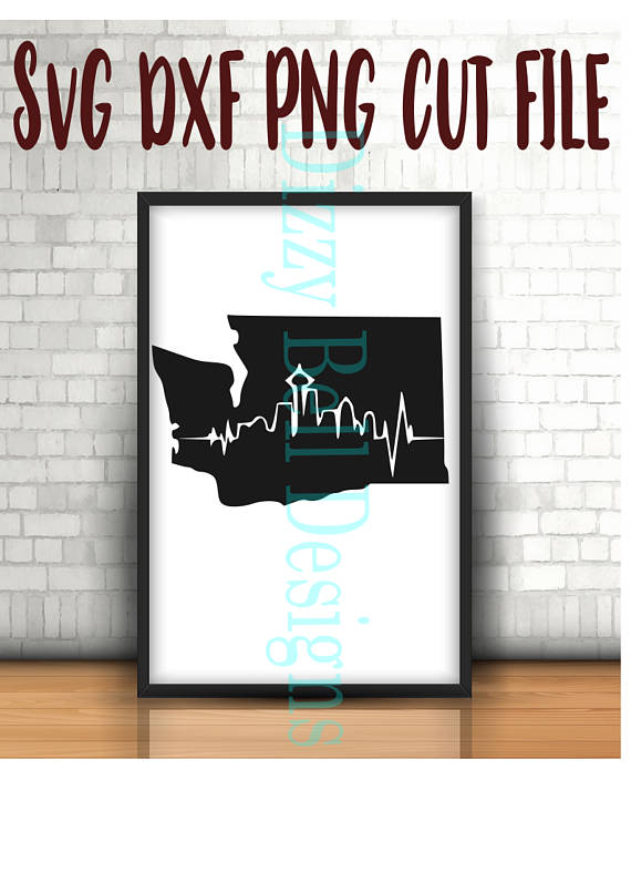 WASHINGTON State Seattle Skyline File, Digital Instant Download. SVG Cut Files Silhouette, Cricut, Plotter WA State, Pacific Nw example image 1