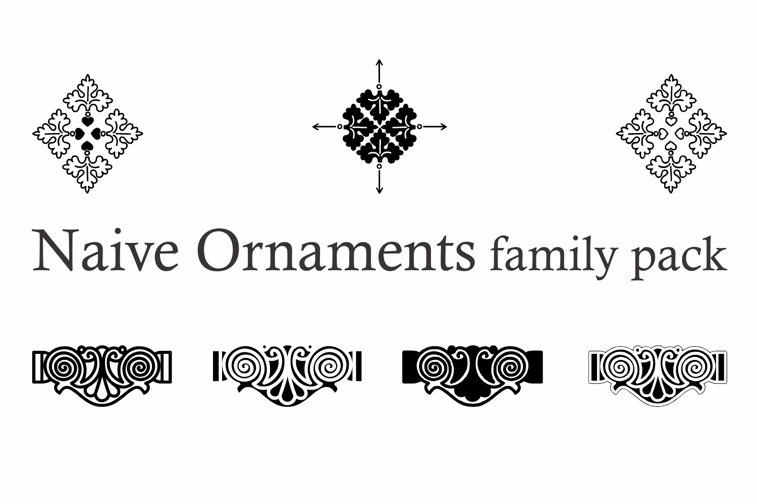 Naive Ornaments Family Pack (seven fonts) example image 11