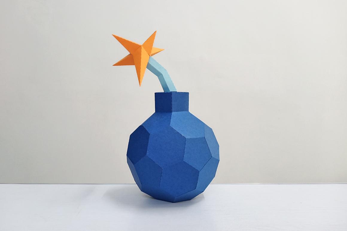 DIY Cannon Bomb,Papercraft Bomb,3d bomb,Paper toy,Bomb Svg example image 3