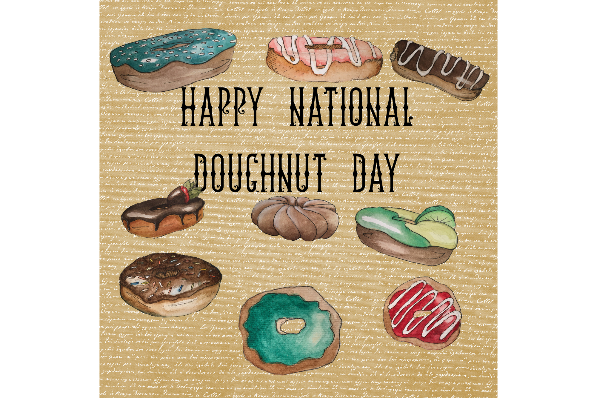 Watercolor Doughnuts example image 1