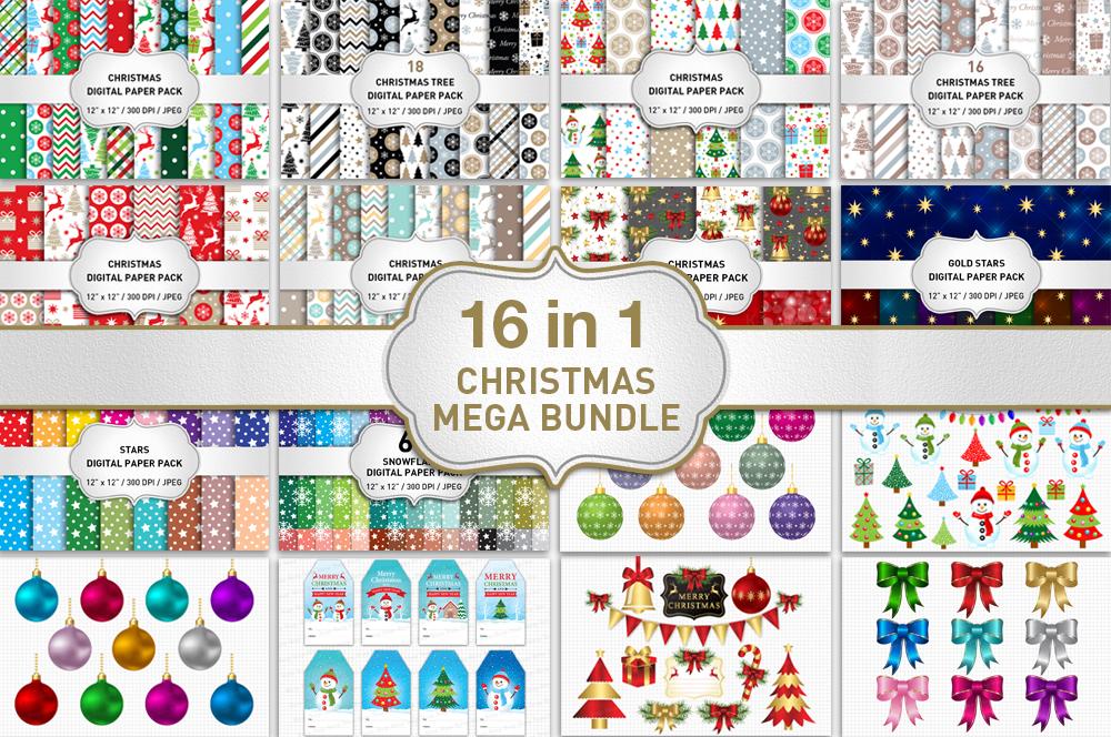 Christmas Bundle / Christmas Digital Paper Pack / Christmas Clipart example image 1