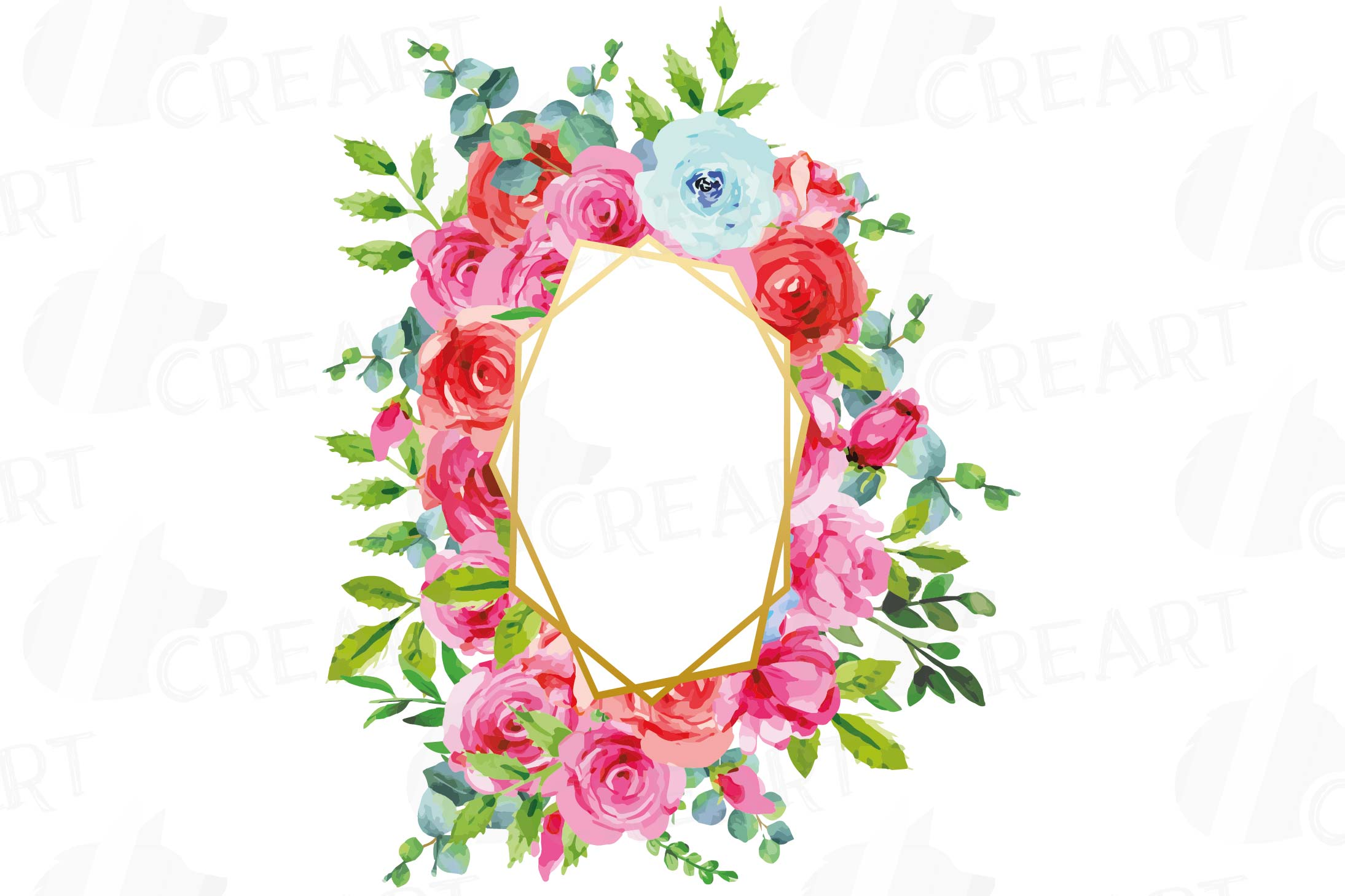 Boho pink and blue floral frames watercolor clip art pack example image 4