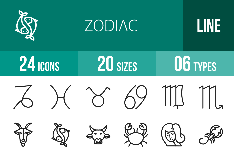 24 Zodiac Line Icons example image 1