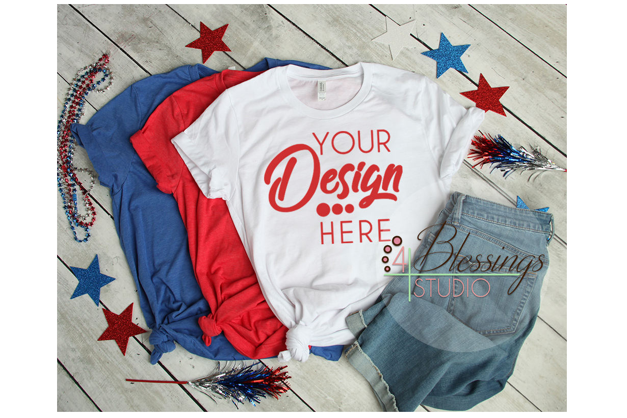 Red White Blue T Shirt 4th of July Mockup Bella Canvas 3001 example image 1
