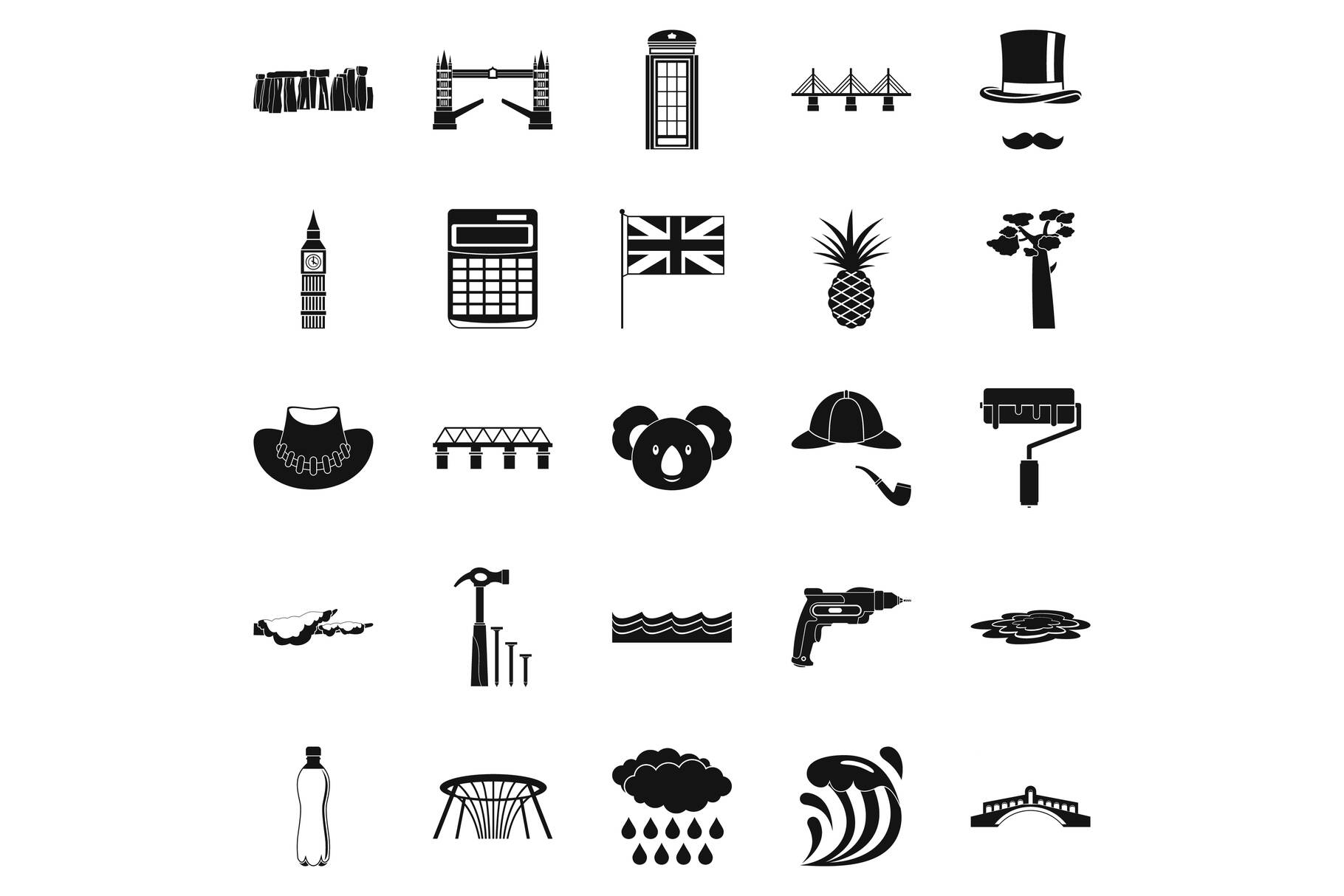Crossway icons set, simple style example image 1