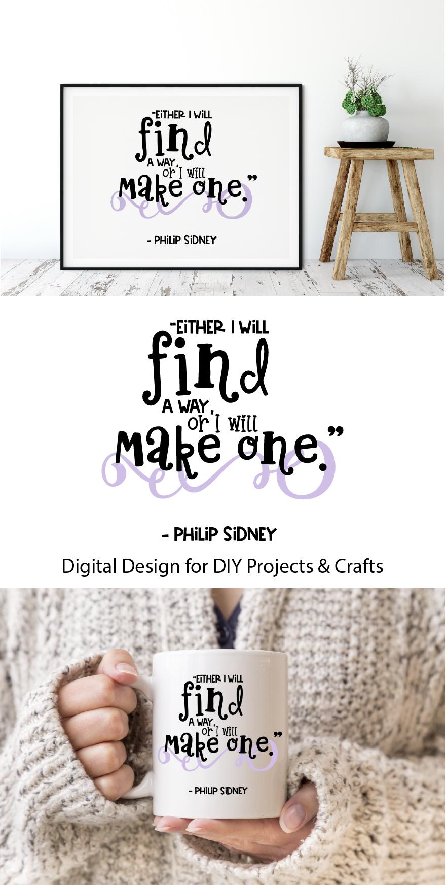Motivational Quote Digital Print / Clip Art / Cut file example image 3